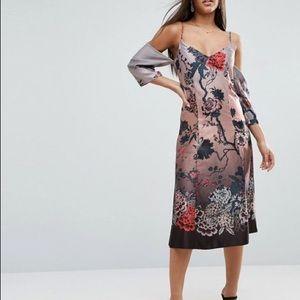 ASOS DESIGN Cold Shoulder Column Midi Dress, NWT!